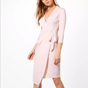 NWT Nude Blush Pink BOOHOO 3/4 Sleeve Wrap Dress